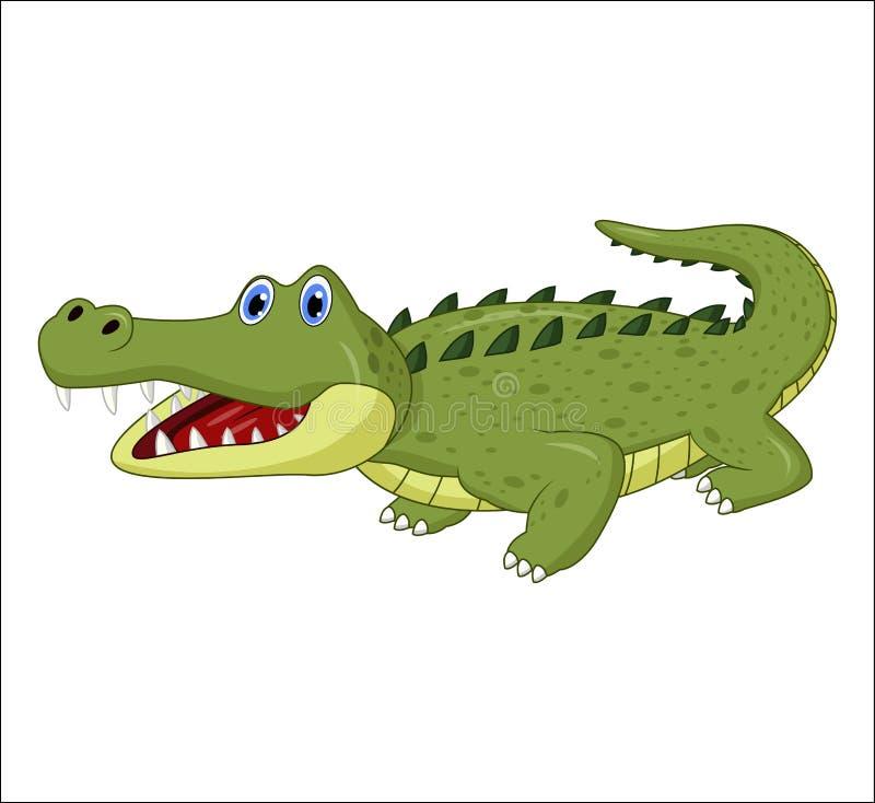 Крокодил шаржа изолированный на белой предпосылке иллюстрация вектора