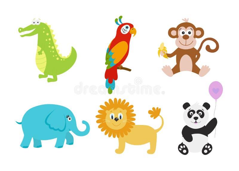 Крокодил шаржа, слон, панда, лев, попугай, обезьяна для b иллюстрация штока