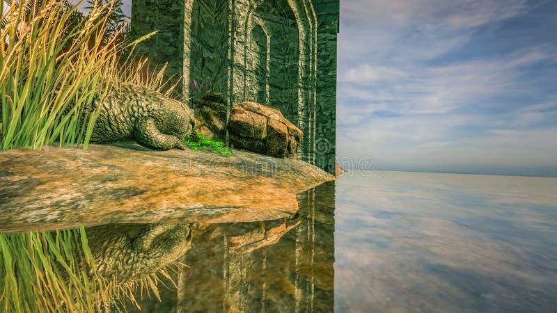 Крокодил Fantasy Background CG 3D иллюстрация вектора