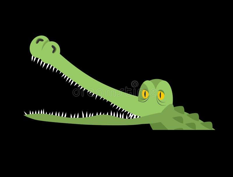 Крокодил в воде Аллигатор в реке Хищник гада воды иллюстрация штока