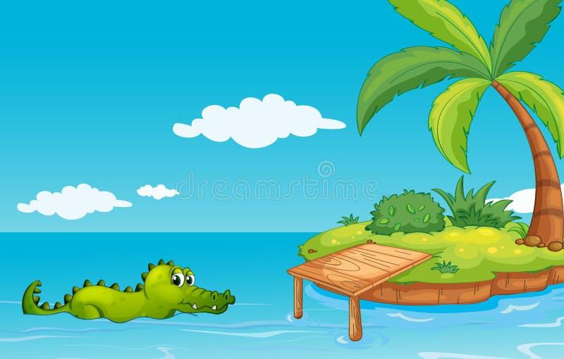 Крокодил идя к острову иллюстрация штока