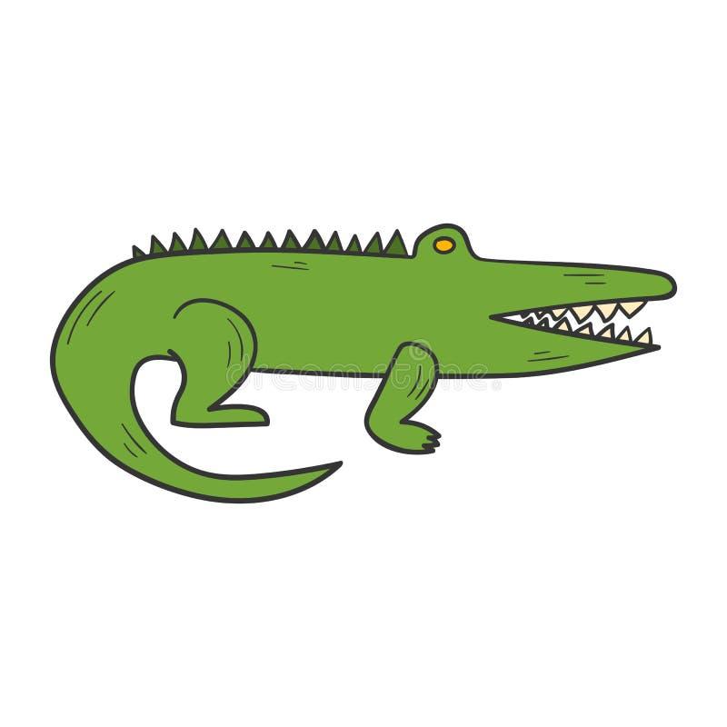 Крокодил шаржа вектора нарисованный рукой иллюстрация штока
