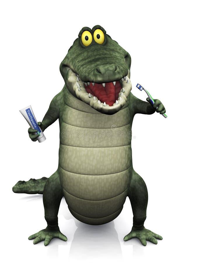 Крокодил шаржа чистя его зубы щеткой бесплатная иллюстрация