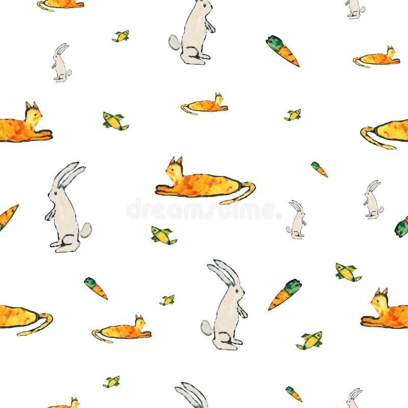 Кролики и коты картины младенца стоковая фотография rf