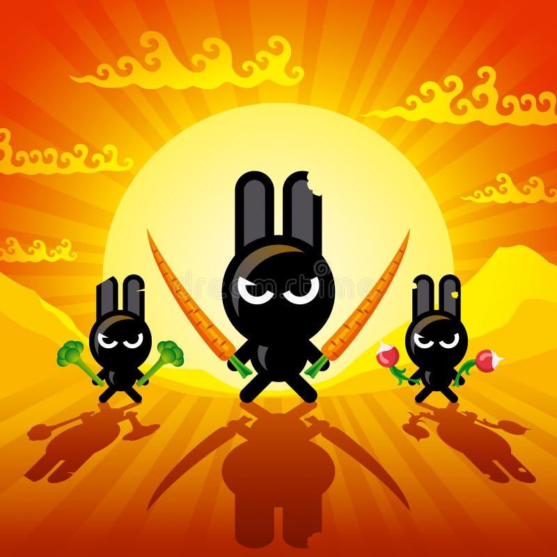 кролики ninja иллюстрация вектора
