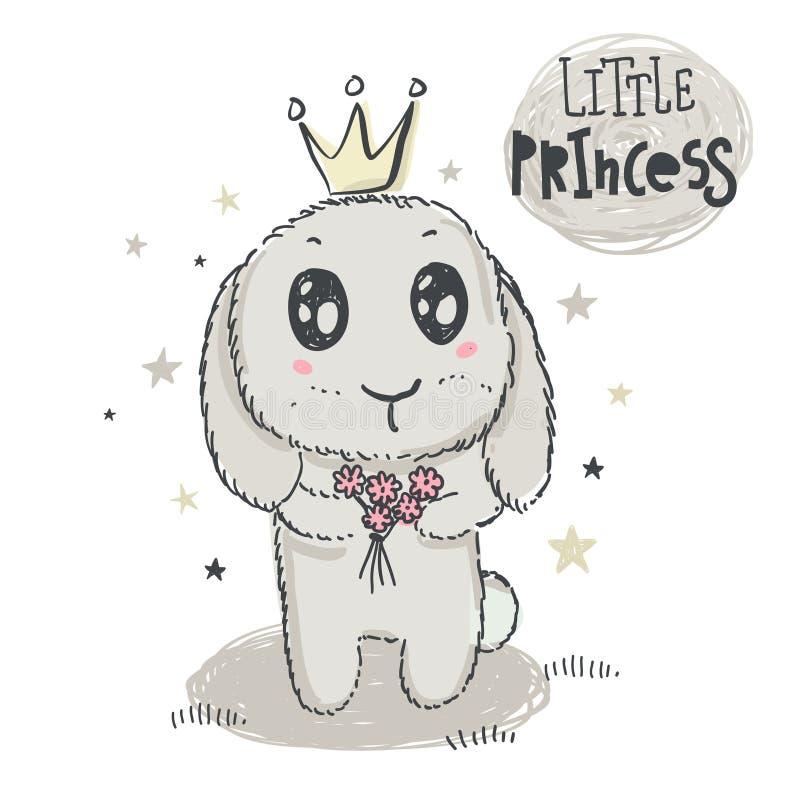 Кролик вычерченного вектора руки милый с кроной и принцессой слов маленькой бесплатная иллюстрация