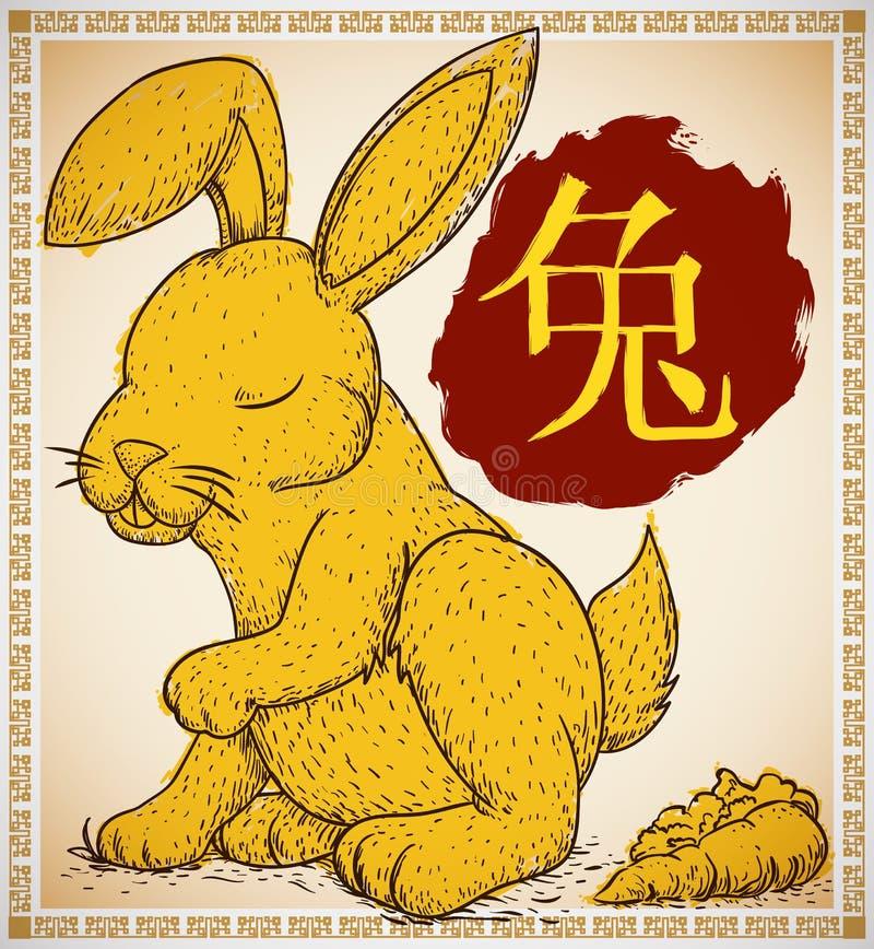 Кролик в нарисованной руке и стиле Brushstroke для китайского зодиака, иллюстрации вектора бесплатная иллюстрация
