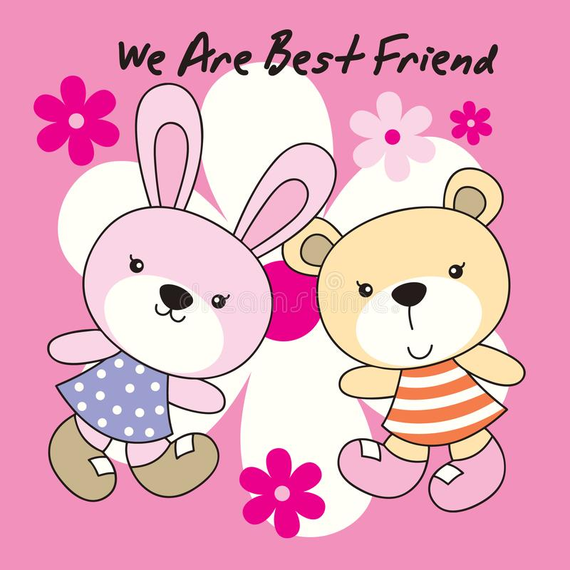 Кролик и медведь с предпосылкой цветка стоковые фото