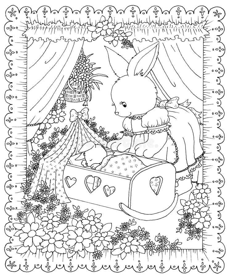 Кролик матери кладя младенца для того чтобы спать бесплатная иллюстрация