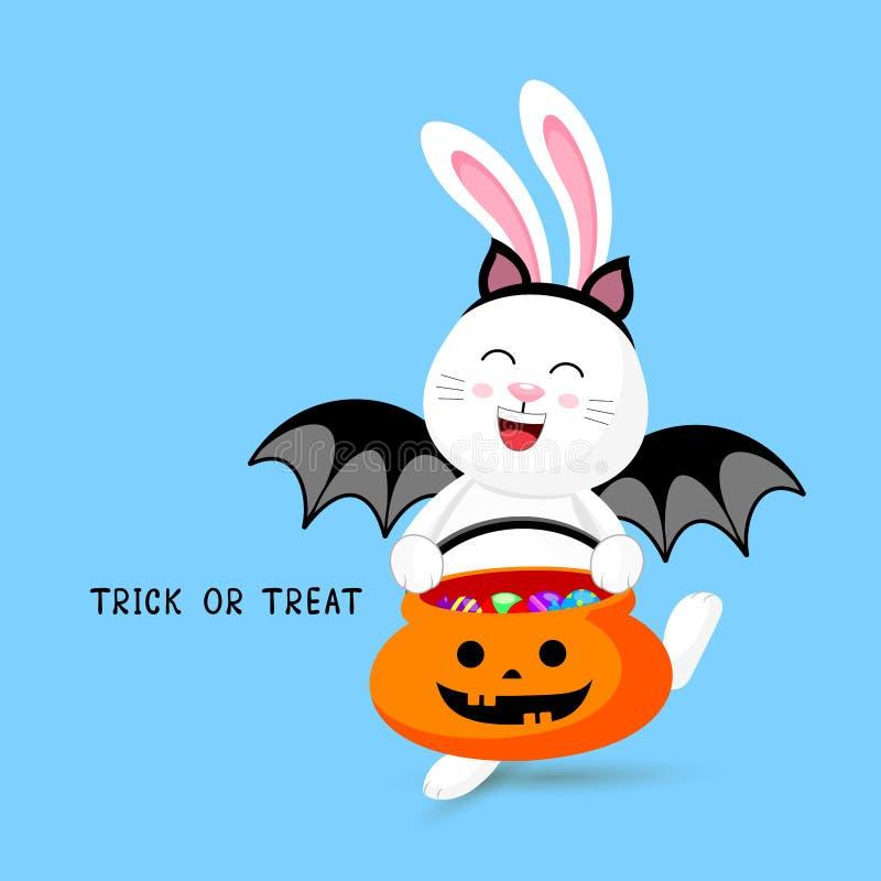 Кролик милого мультфильма белый в костюме летучей мыши иллюстрация вектора