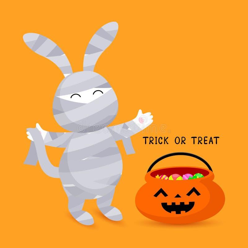 Кролик милого мультфильма белый в костюме мумии иллюстрация штока