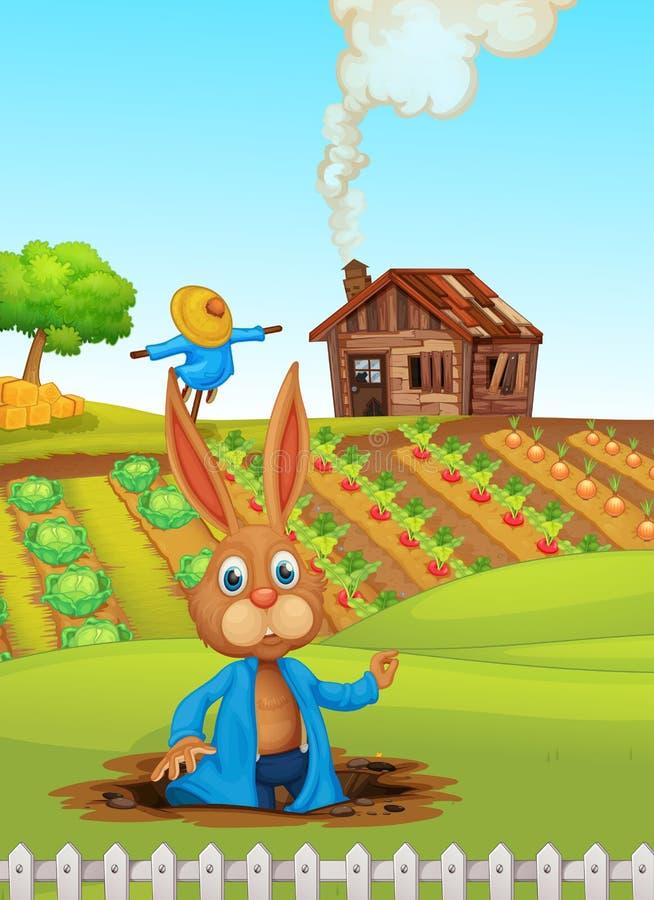Кролик на ферме иллюстрация штока