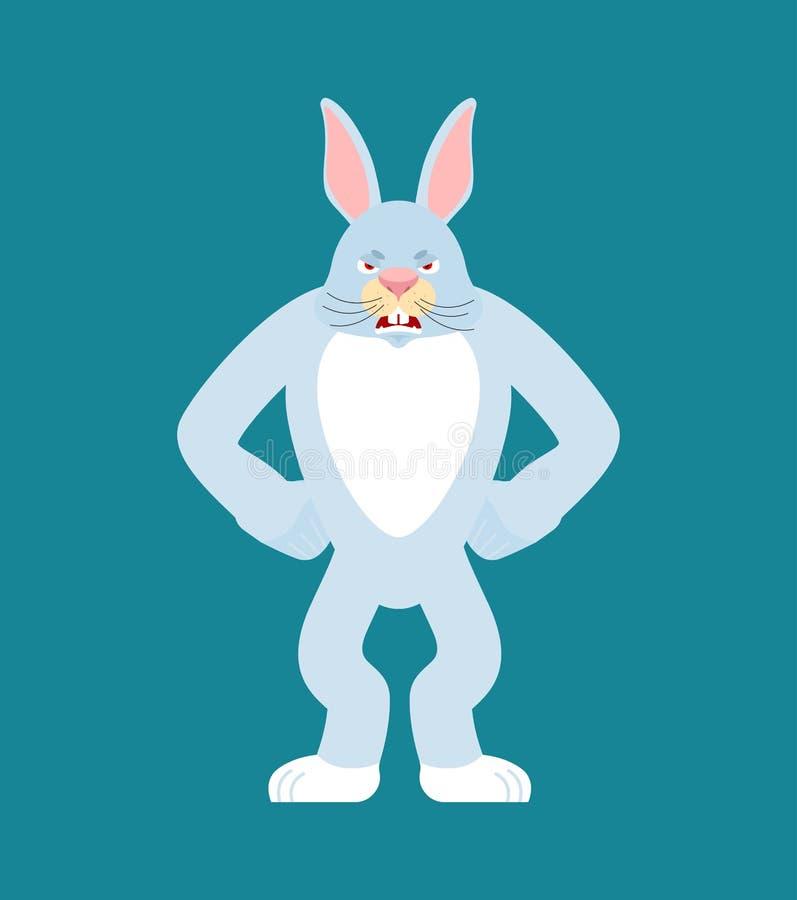 Кролик сердитый Эмоции зла зайцев Животное агрессивное Illu вектора иллюстрация штока
