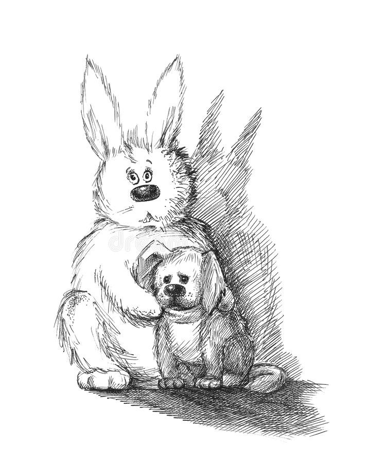 кролик собаки иллюстрация вектора