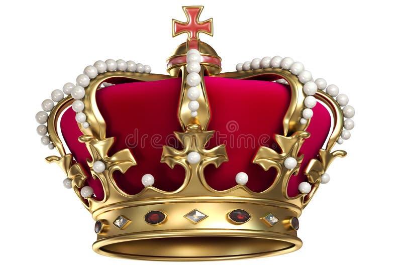 Крона золота с самоцветами иллюстрация вектора