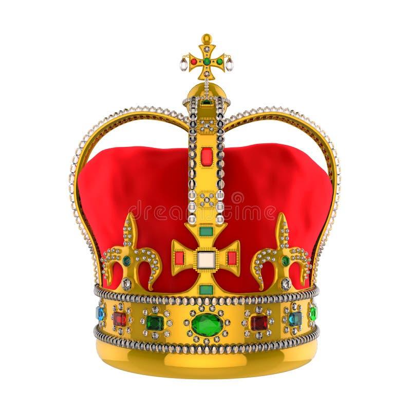 Крона золота королевская с драгоценностями иллюстрация вектора