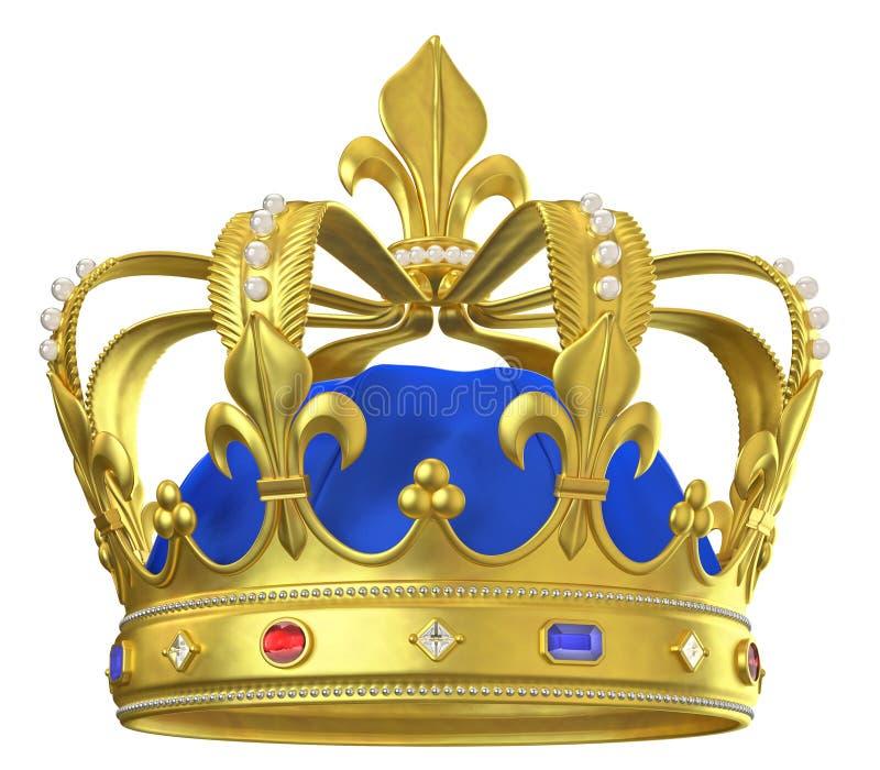 Крона золота с драгоценностями иллюстрация штока