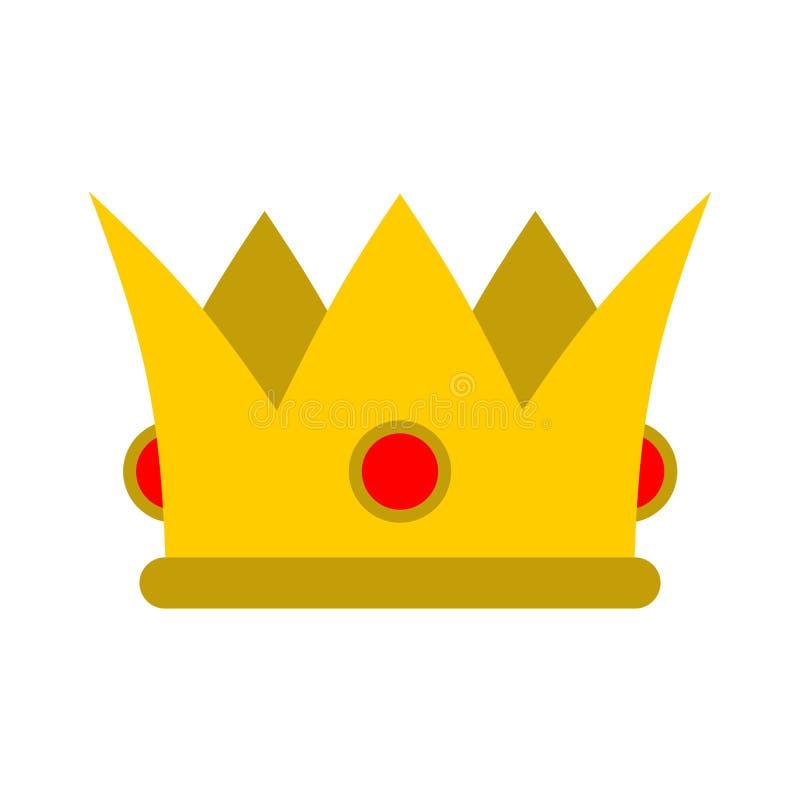 крона изолировала Королевская шляпа Крона золота с стилем диамантов плоским иллюстрация вектора