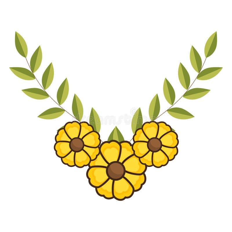 Крона листьев с желтыми цветками бесплатная иллюстрация