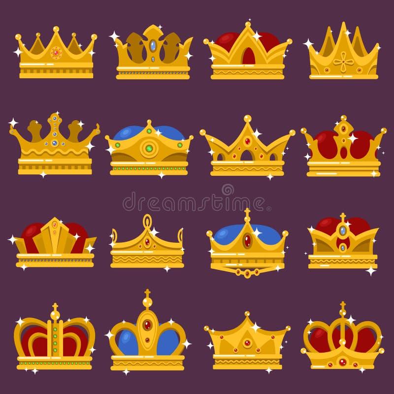 Крона монарха сияющая, тиара Папы, головной убор ферзя иллюстрация вектора