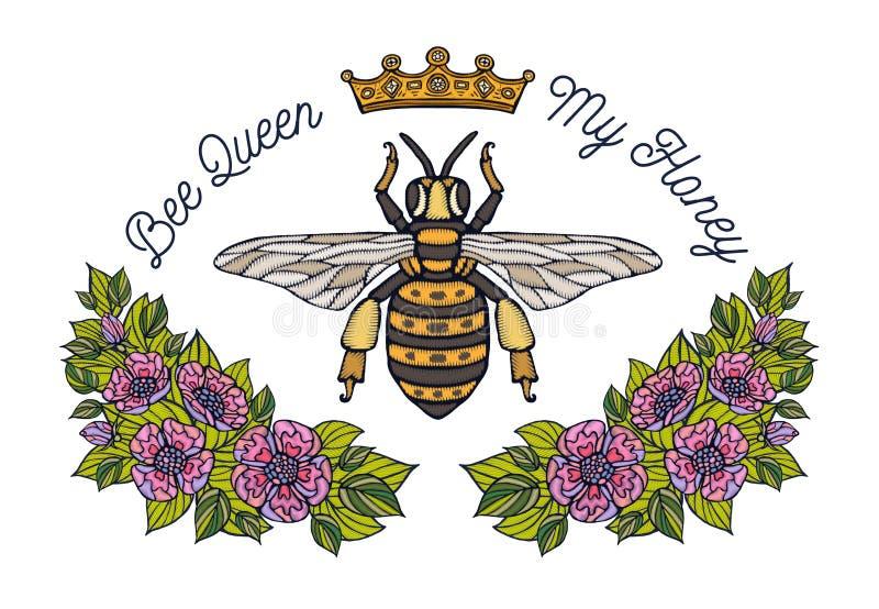 Крона пчелы цветет patsh вышивки Вышивка насекомого флористических лист шмеля пчелы меда Нарисованная рукой иллюстрация вектора иллюстрация штока