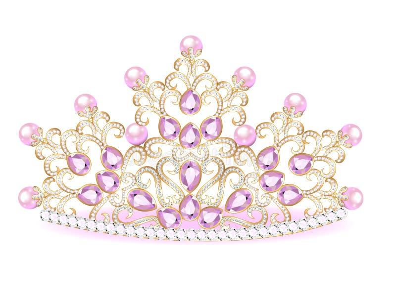 крона розового diadem женственная с драгоценностями иллюстрация вектора