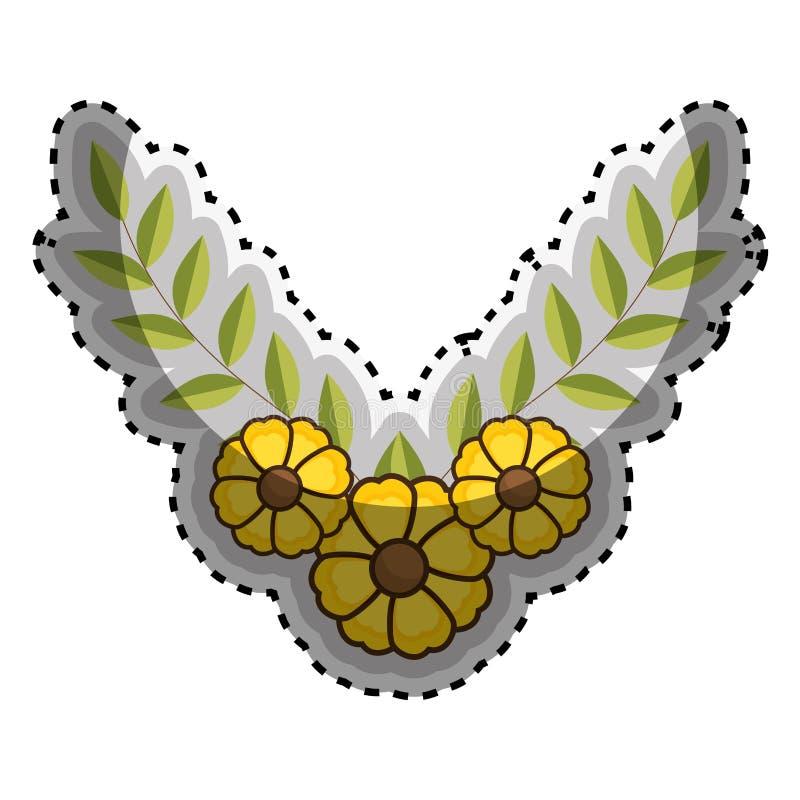 Крона стикера листьев с желтыми цветками бесплатная иллюстрация