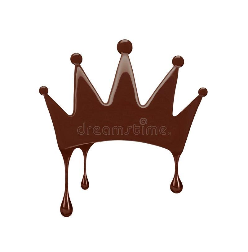 Крона сделанная из расплавленного изолированного шоколада на белизне стоковое изображение rf