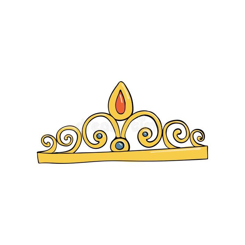 крона с самоцветами и диамантами для принцессы или ферзя Символ власти Заставка короля Значок обозначая успех и иллюстрация штока