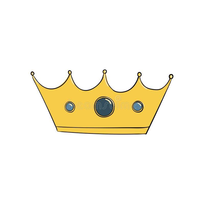 Крона с самоцветами Символ власти Заставка короля Значок обозначая успех и insignia монетное золото pearls красные рубины иллюстрация вектора
