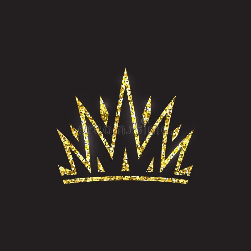 Крона ферзя, королевский головной убор золота Аксессуар короля золотой Изолированные иллюстрации вектора Символ класса элиты на ч бесплатная иллюстрация
