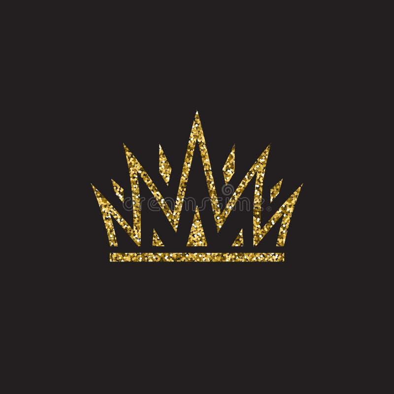 Крона ферзя, королевский головной убор золота Аксессуар короля золотой Изолированные иллюстрации вектора Символ класса элиты на ч иллюстрация вектора