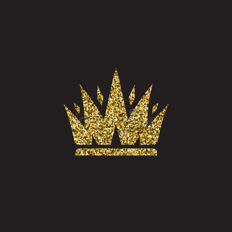 Крона ферзя, королевский головной убор золота Аксессуар короля золотой Изолированные иллюстрации вектора Символ класса элиты на ч иллюстрация штока