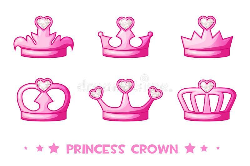 Крона de принцесса шаржа розовая, установила значки Милая иллюстрация вектора для девушек иллюстрация вектора