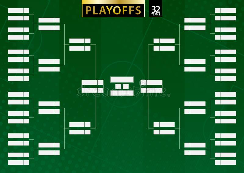 Кронштейн турнира для команды 32 на зеленой предпосылке футбола бесплатная иллюстрация
