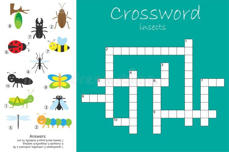 Кроссворд для детей, тема насекомого, игра для детей, preschool деятельность при образования потехи рабочего листа, иллюстрация в иллюстрация вектора