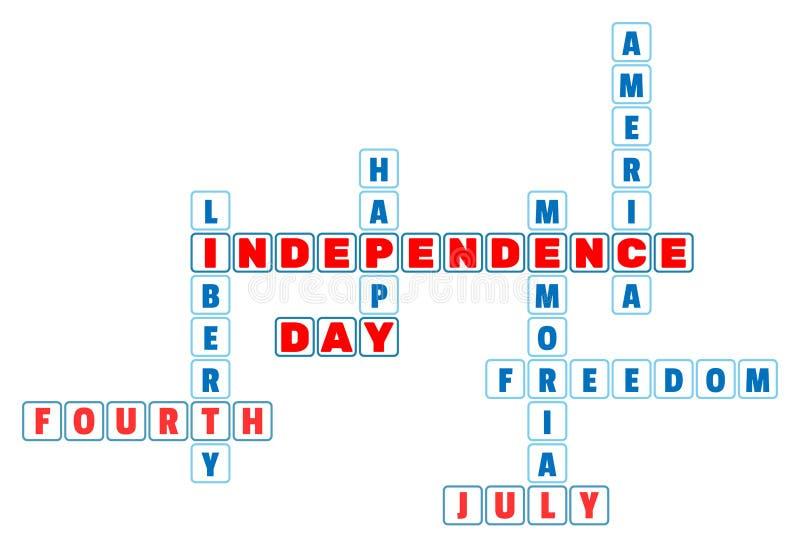 Кроссворд Дня независимости 4-ое июля в минимальном стиле иллюстрация штока