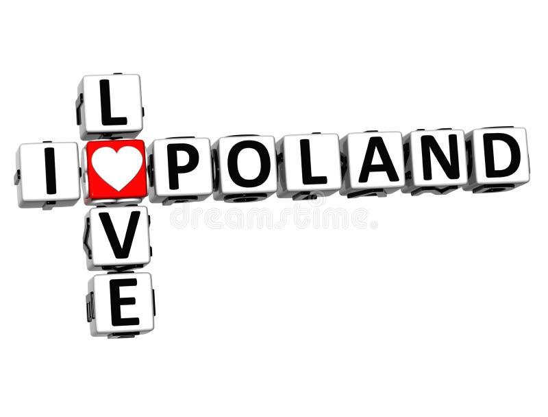кроссворд Польши влюбленности 3D i бесплатная иллюстрация
