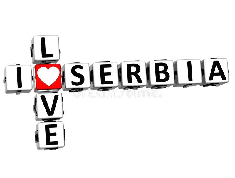 кроссворд Сербии влюбленности 3D i иллюстрация штока
