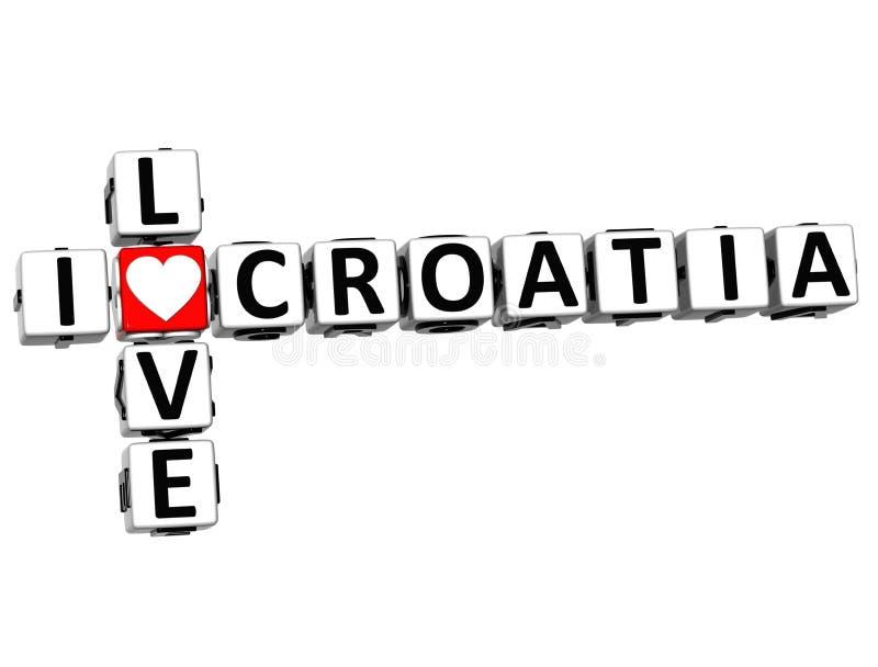 кроссворд Хорватии влюбленности 3D i иллюстрация штока