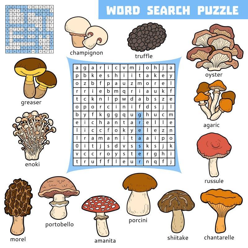 Кроссворд цвета вектора о грибах Головоломка поиска слова иллюстрация штока