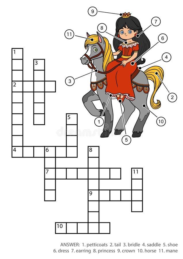 Кроссворд цвета вектора Принцесса и лошадь иллюстрация вектора