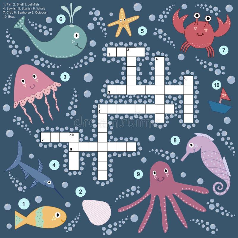 Кроссворд для детей о морской жизни иллюстрация вектора