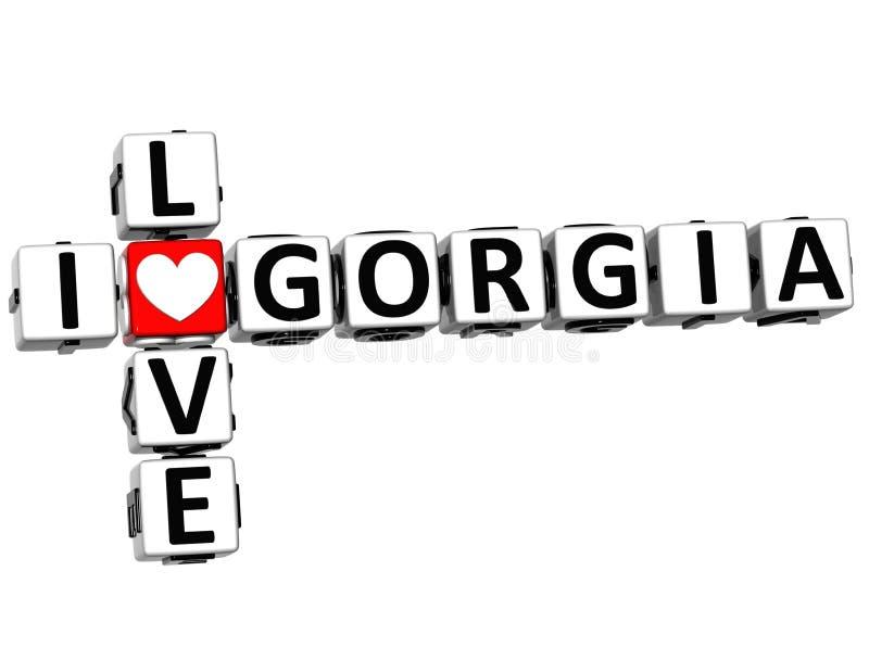 кроссворд Gorgia влюбленности 3D i иллюстрация штока
