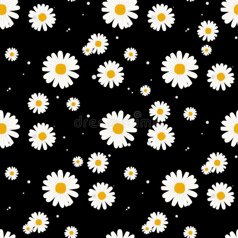 Крошечные цветки безшовная картина, вектор, черно-белый вектор иллюстрации абстрактной предпосылки флористический бесплатная иллюстрация