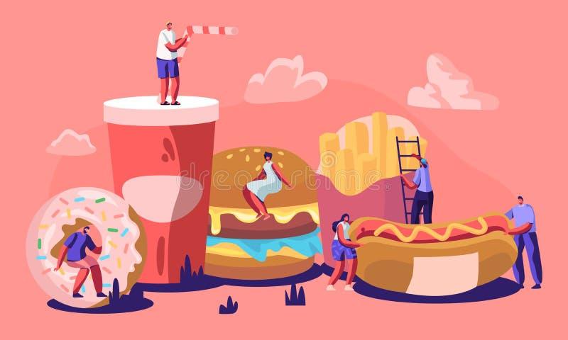 Крошечный мужчина и женские характеры взаимодействуя с фаст-фудом Огромный бургер, хот-дог с мустардом, французским картофелем фр иллюстрация штока