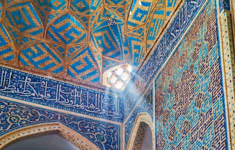 Крошечный персидский экран в мечети Jameh, Yazd, Иране стоковое изображение rf