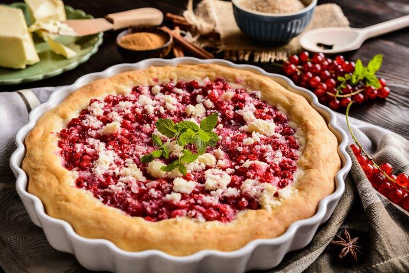Крошите пирог с красными смородинами стоковая фотография rf