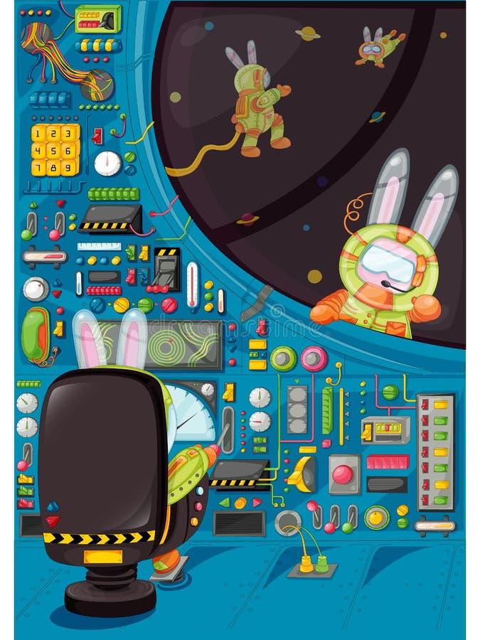3 кролика на космосе с ракетой также вектор иллюстрации притяжки corel бесплатная иллюстрация