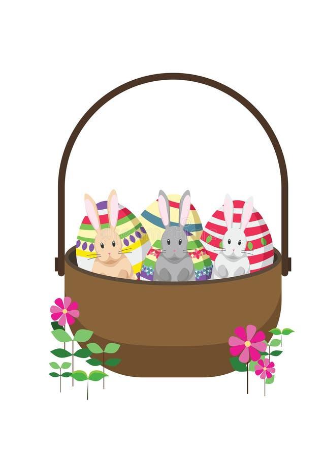 Кролики зайчика пасхи с корзиной пасхи вполне украшенных пасхальных яя иллюстрация вектора